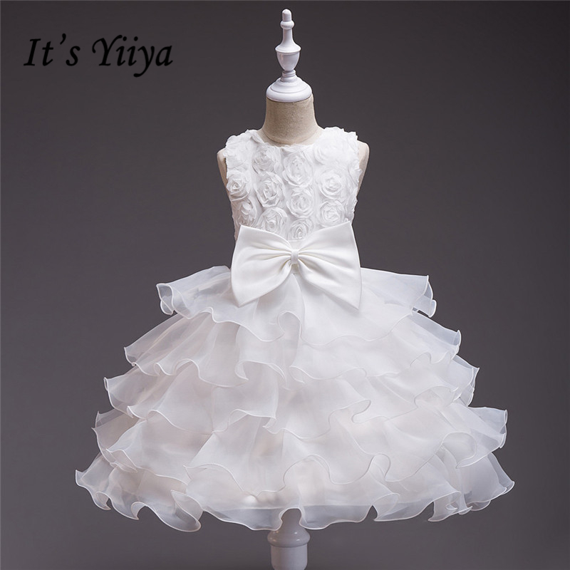 It's YiiYa 6 Colors Sleeveless O-Neck Bow Sashes Tiered Kids Princess   Flower     Girls     Dress   Kids Evening Gowns Prom   Dress   TS132