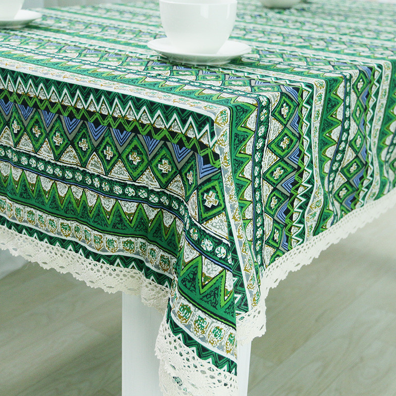 1pcs Geometric Pattern Green Cotton Linen Tablecloth Wedding Party Table  Cloth Cover Home Decor Decoration Tablecloths