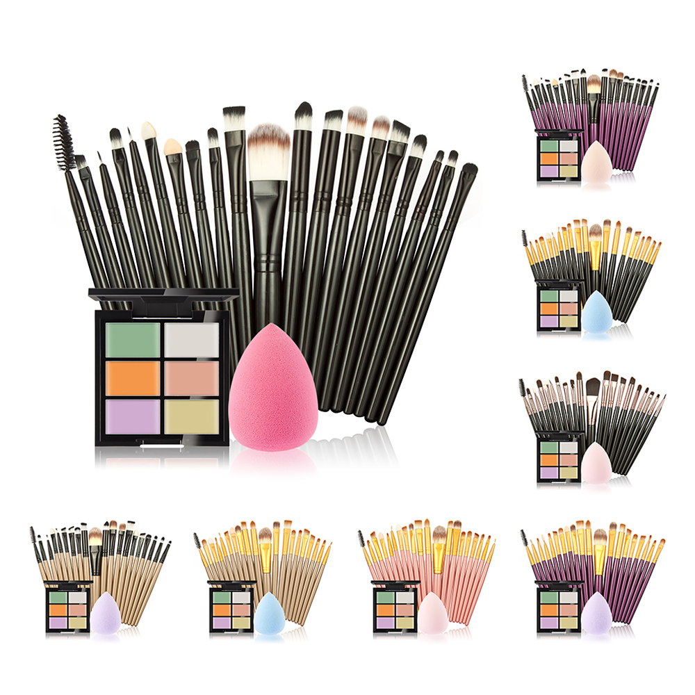 20 Pcs Pro Makeup Brushes Set Eyebrow brush with Sponge Make up Puff and 6 Color Waterproof Contour Concealer Cosmetics set kit candy color calabash shaped cosmetic makeup cotton pads sponge puff pink