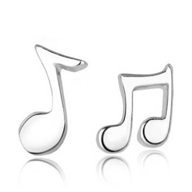 H:HYDE New Fashion 1 Pair Women Stud Earrings Asymmetry Musical Notes Silver Color Ear Studs Earrings for women Jewelry brincos 1