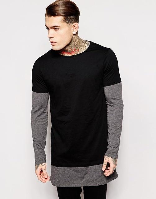 30ce4c15c Plus Size longline long sleeve t-shirt extra length t shirt solid tall tee  men tshirt with zipper to the hem 4XL