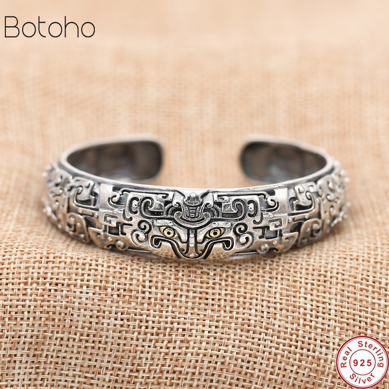 S925 Sterling Silver Jewelry Men Bracelet Retro Thai Silver Personality Ethnic Style Ancient Animal Gluttonous Domineering 2019
