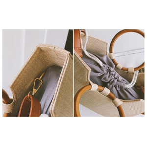 Image 5 - Handgemaakte Stro Geweven Tassen Voor Vrouwen Vintage Effen Grote Houten Handgrepen Dames Handtas Strand Weave Femme Schoudertassen Handtassen B24