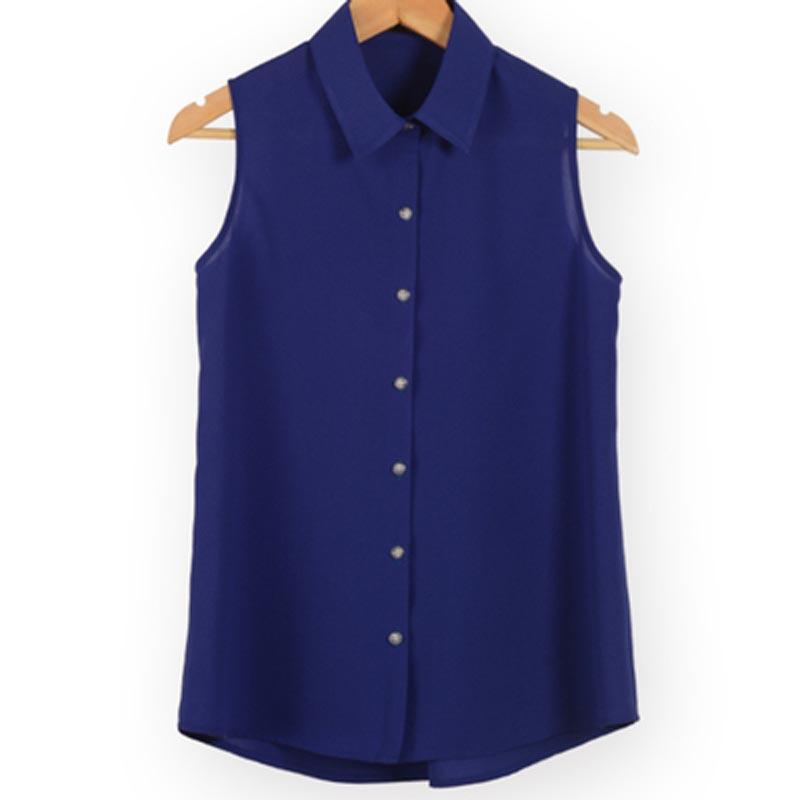 Women Sleeveless Turn-down Chiffon Blouse Summer Shirt Blusas Femeninas Plus Size Solid Vest Tops Camisa De Chifon Feminina 1473