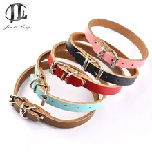 Plain collars puppy pet good collar dog genuine luxury leather quality