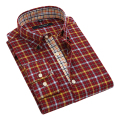 Autumn 2016 Men's No-Pocket Plaid Oxford Button-down Shirt Patchwork Placket Long Sleeve Slim-fit 100% Cotton Male Dress Shirts