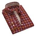 Otoño 2016 de Los Hombres No de Bolsillo A Cuadros Oxford abotonada Camisa Patchwork de Manga Larga Tapeta Slim-fit 100% Algodón Hombres Camisas de Vestir