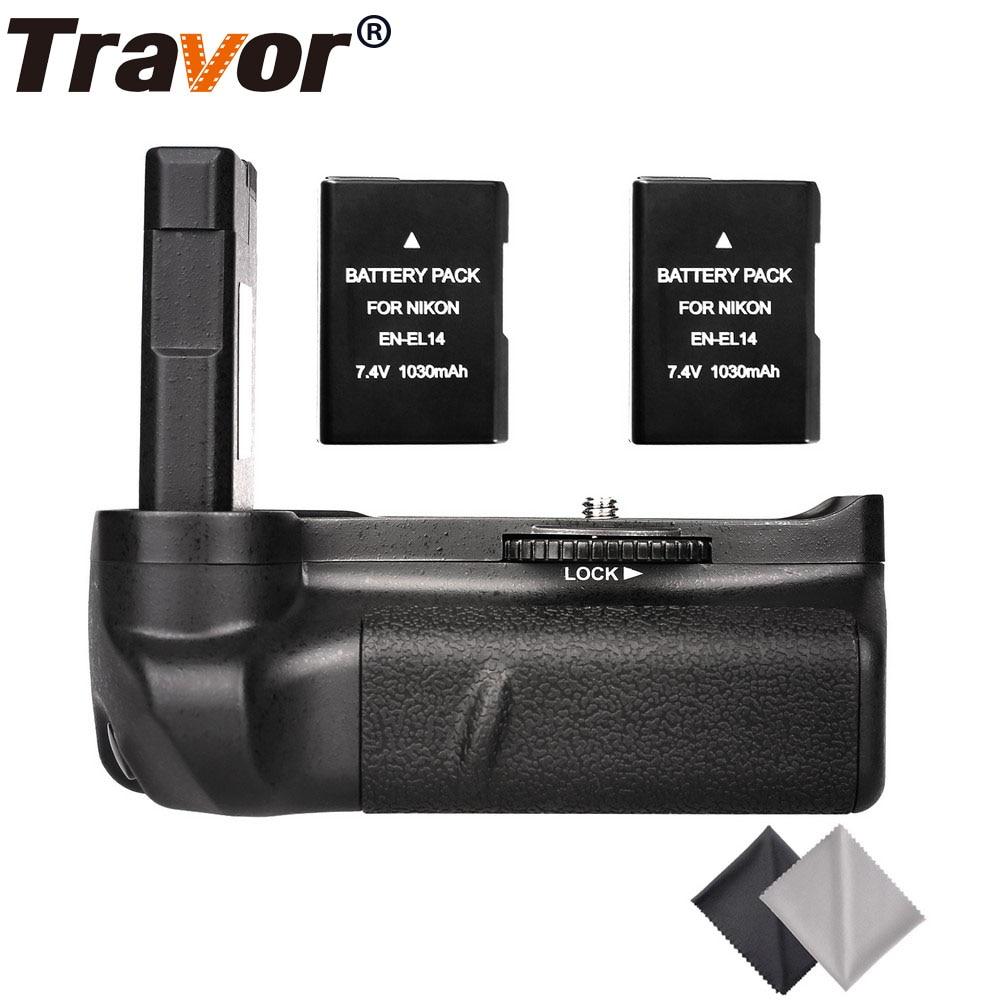 Travor Professional Battery Grip For Nikon D5300 D5200 D5100 DSLR Cameras +2pcs EN-EL14 Battery+2pcs Microfiber Cleaning Cloth