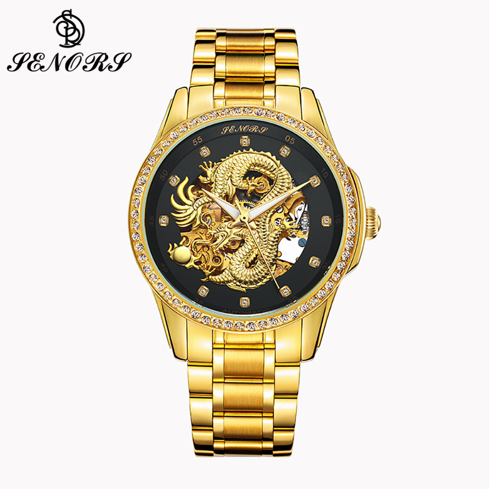 SENORS Luxury Men Watch Automatic Dragon Gold Dial Bracelet Strap Male Clock Diamond Men Mechanical Wristwatches Waterproof 020