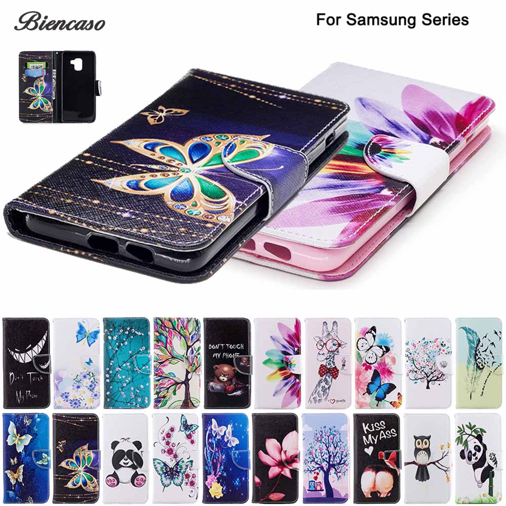 PU Leather Wallet Flip Case For Samsung Galaxy A3 A5 2017 A320 A520 A530 A750 A7 A6 A8 Plus 2018 S7 Edge S8 S9 Plus Funda B116(China)