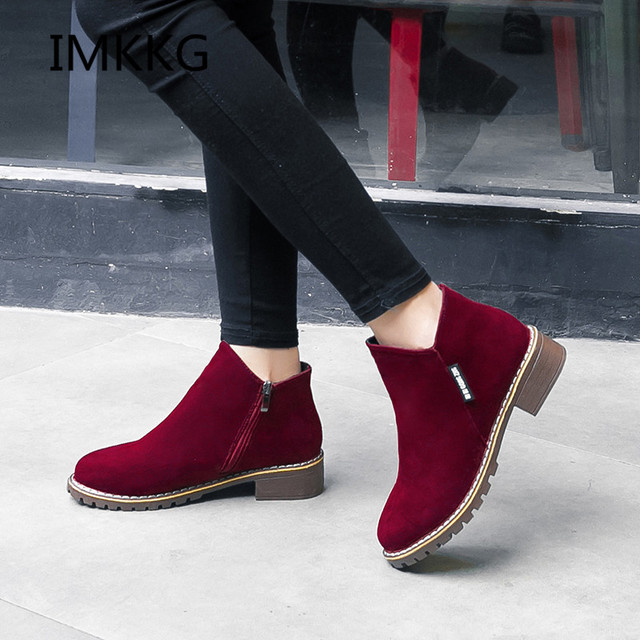IMKKG Female Fashion Slip On Low Heel Sewing Flock Platform Ankle Boots 2017 Women's Casual Comfortable Style Black Shoes S504