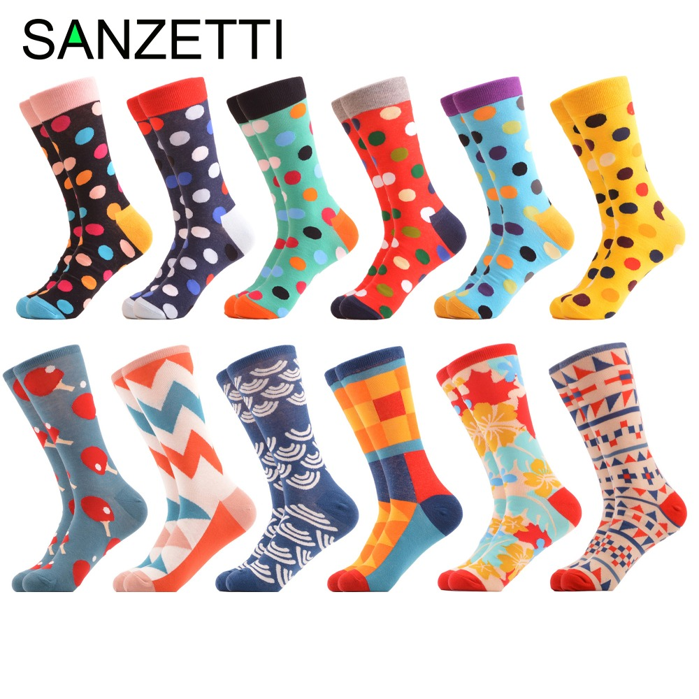 SANZETTI 12 Pairs/Lot Classic Dots Mens Funny Colorful Combed Cotton Socks Dozen Pack Casual Happy Socks Dress Wedding Socks