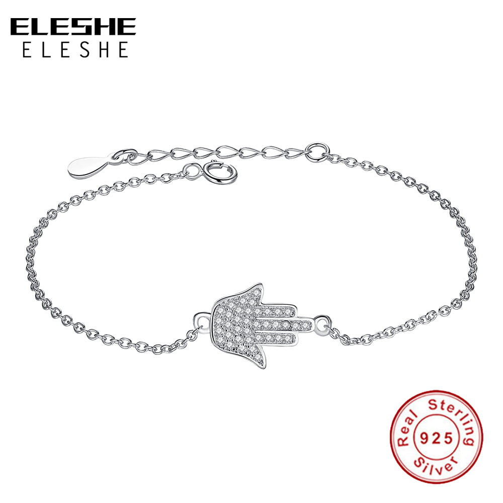 ELESHE Lovely Original Smykker 925 Sterling Sølv Hamsa Kvinners Armbånd Krystall Link Chain Friendship Brcaelet for Women Bijoux
