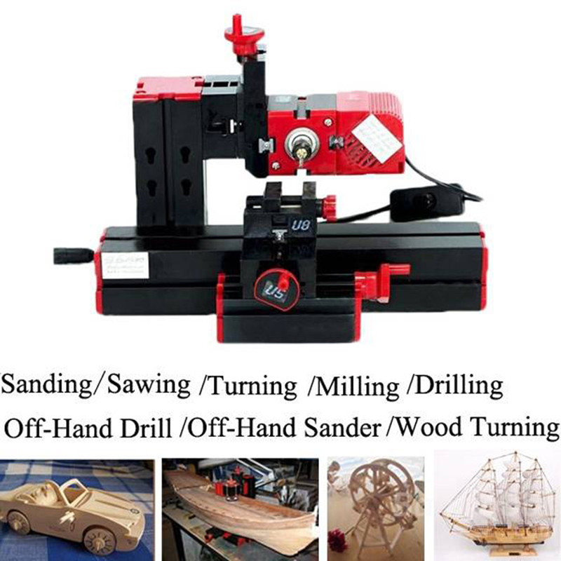6 in1 Lathe Machine Tool Kit Jigsaw Grinder Driller Plastic Metal Wood Lathe Drilling Sanding Turning Milling Sawing Machine Set 12000r min 60w all metal 8 in 1 mini lathe without bow arm milling drilling wood turning jag saw sanding machine