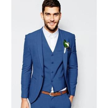 2018 Men'ssuit New Work Slim Fit One Button Jacket Pants Classic Wedding Prom Banquet Suit Men Groom Tuxedo (Jacket+Pants+Vest)