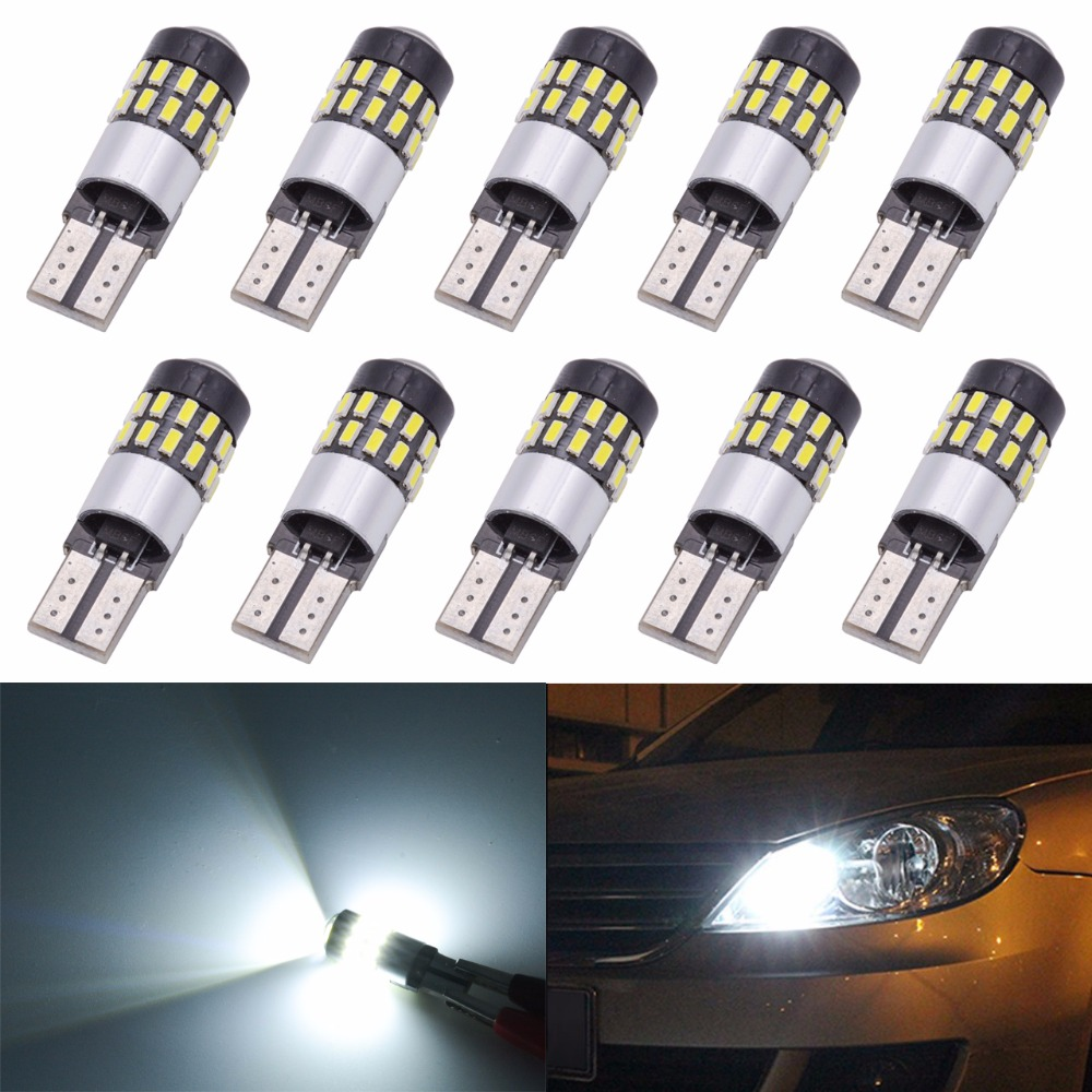 10x T10 Canbus 168 175 194 2825 W5W LED Light Bulbs CanBus Error Free 3014 30SMD Lens 300Lumens DC 12V Interior Map Dome Lamps 10x t10 w5w interior white led canbus error free 6 smd 5630 with cree chip lens projector aluminum case bulbs
