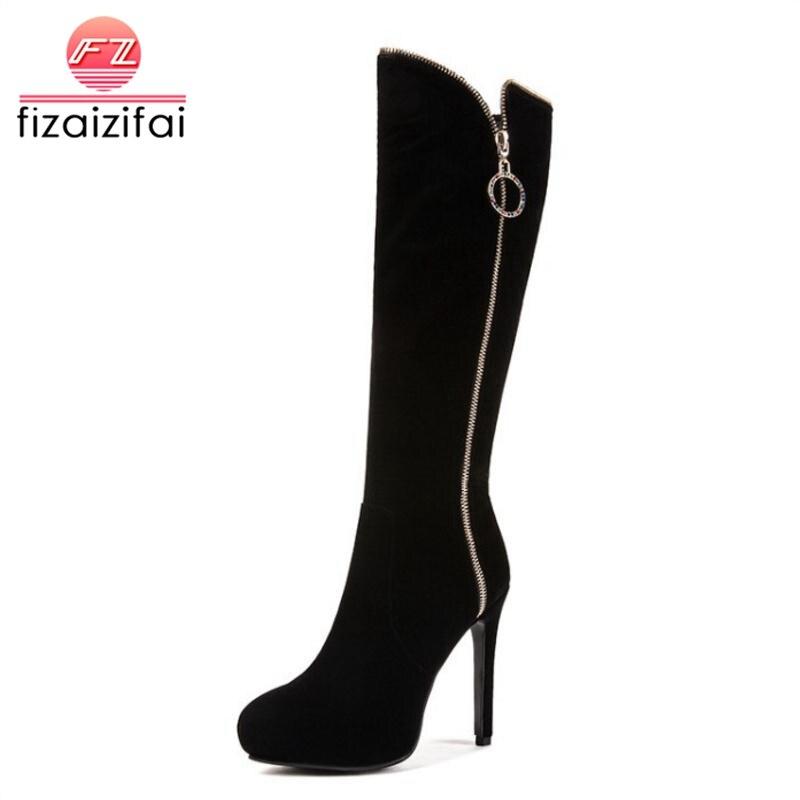 Besorgt Fizaizifai Größe 33-43 Frau High Heel Frauen Stiefel Winter Schuhe Frau Plattform Knie Stiefel Zipper Fashion Schuhe Damen Schuhe Und Ein Langes Leben Haben.