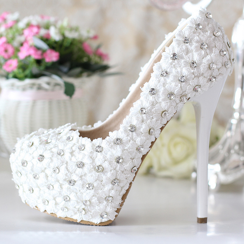 Nice Genuine Leather Luxury Rhinestone Bridal Shoes White Ultra High Heels Wedding Platform In Women S Pumps From On