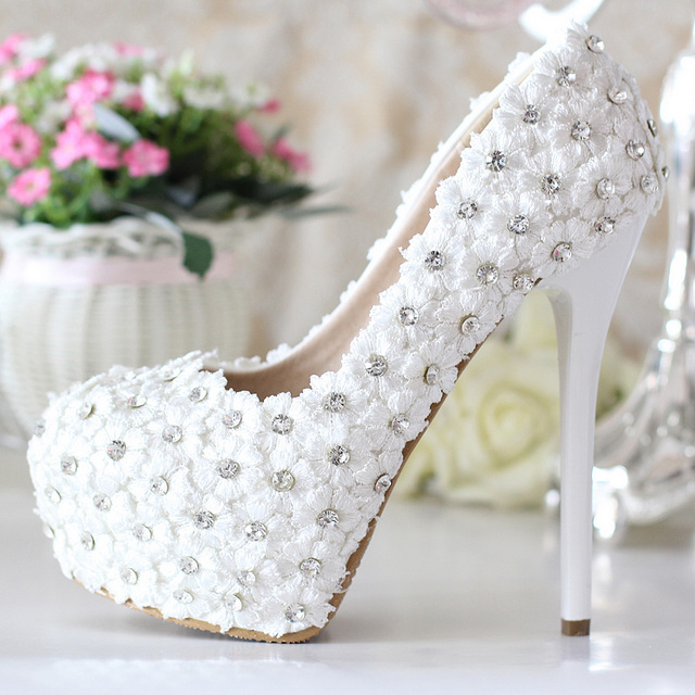 Nice Genuine Leather Luxury Rhinestone Bridal Shoes White Ultra High Heels Wedding Platform