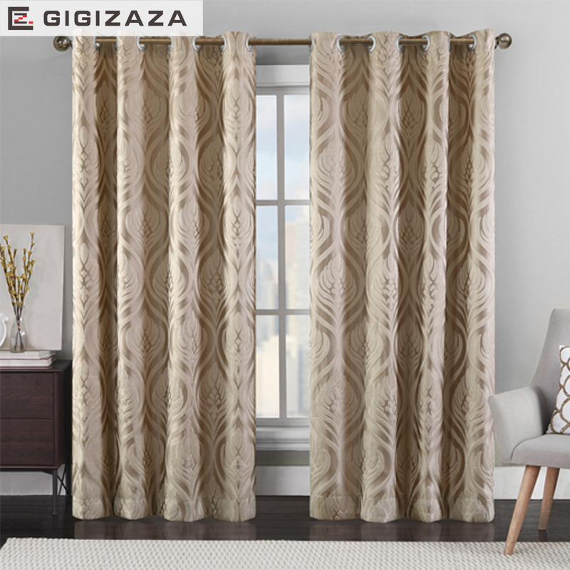 GIGIZAZA Luxury Jacquard Chinese Blinds Curtains For Living Room Bed Home Drape Decor Grey Custom