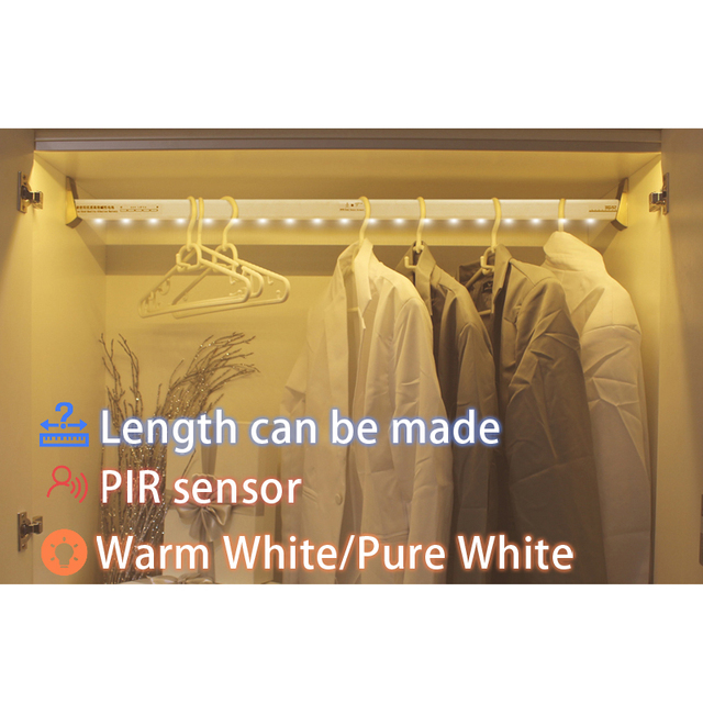 AAA Battery Supply Led Closet Light Body Motion Sensor Wardrobe Clothes  Rack Light