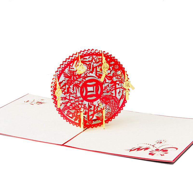 3D Laser Cut Handmade Carving Cute Chinese Traditional New Year Blessing Paper Invitation Greeting Cards PostCard Creative Gift