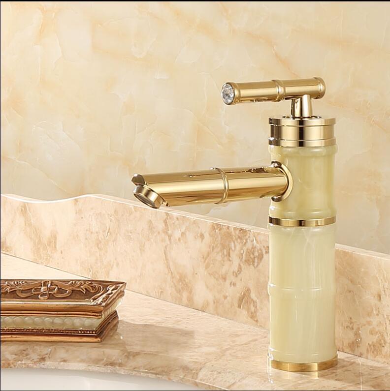 New arrival jade and brass basin faucet Gold bathroom basin faucet,Luxury sink tap basin mixer High Quality water tap new design gold plating luxury bathroom basin faucet single handle vanity sink mixer water tap brass and jade basin sink faucet