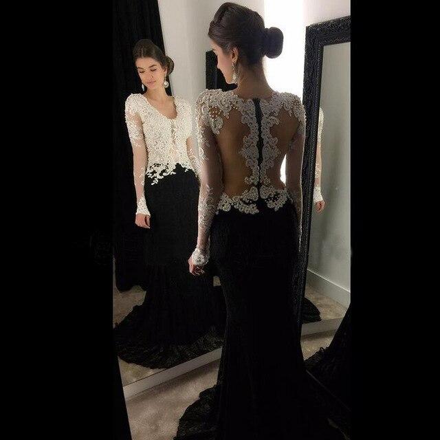 Sexy noir et blanc transparent à manches longues sirène robes de soirée longues perlées robes de bal robe de soirée robe formelle Abendkleider 2017