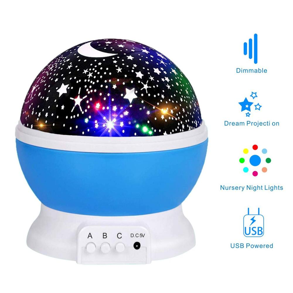 Baby Night Light Moon Star Projector 360 Degree Rotation - 4 LED Bulbs 9 Light Color Changing with USB Cable, Unique Gifts for Men Women Kids Best Baby Gifts¡