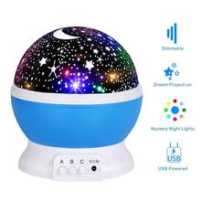 Star projector moon Lamp starry Night Light LED star light lampara luna USB Bedroom Party rechargeable night light for child(China)