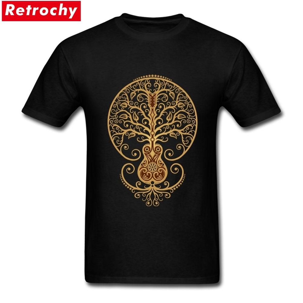 Drôle guitare acoustique arbre de vie t-shirts hommes personnalisé coton manches courtes grande taille chemise