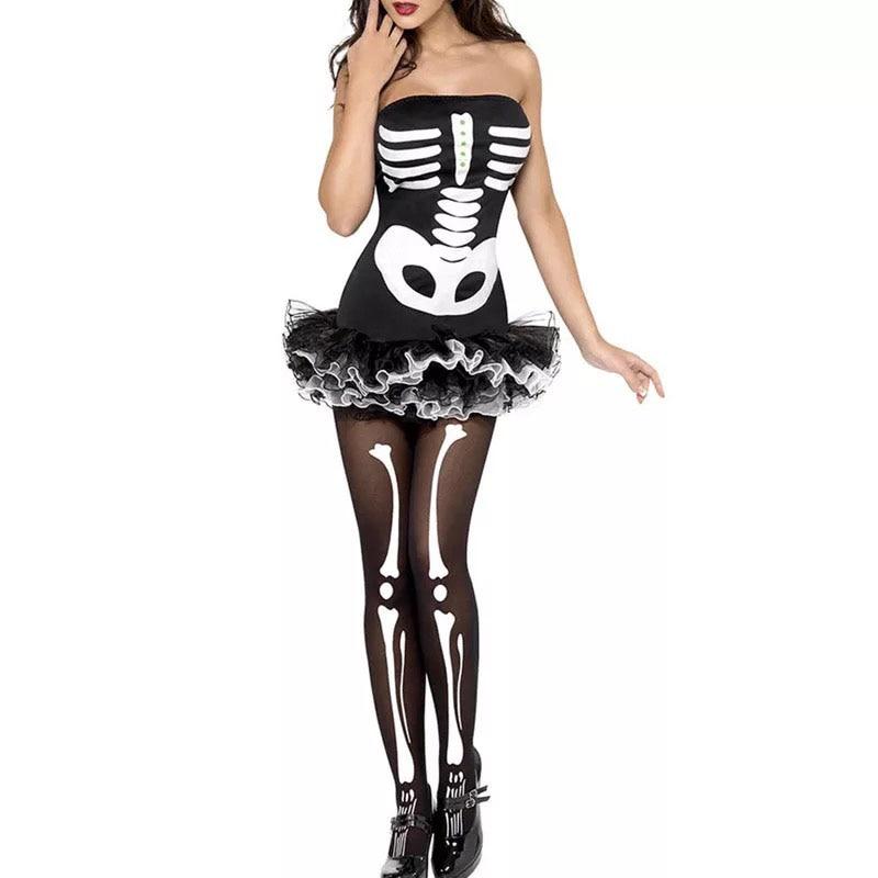 Sexy Halloween Skeleton Costume Adult Women Scary Cosplay -1718