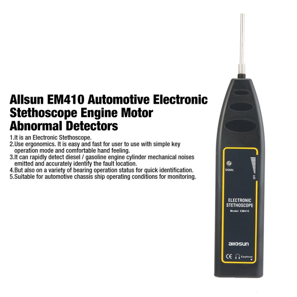 Allsun EM410 Automotive Electronic Stethoscope Engine Motor Abnormal Sound Detectors Repair the Tool for Car Machine