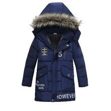 Теплое Утепленное зимнее Детское пальто с меховым воротником детская верхняя одежда ветрозащитные куртки для маленьких мальчиков и девочек от 3 до 8 лет