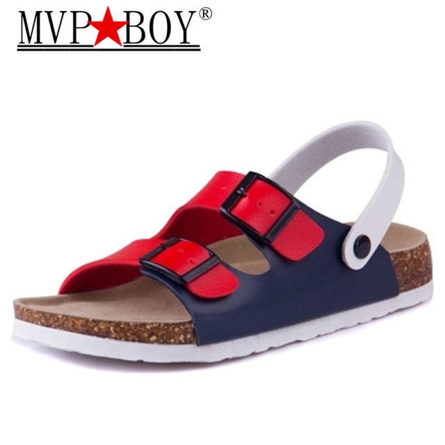Mvp Boy Fashion Double Buckle Cork Sandals Flats 2018 New Women Summer  Beach Patchwork Casual Slipper 428ed9111a4d