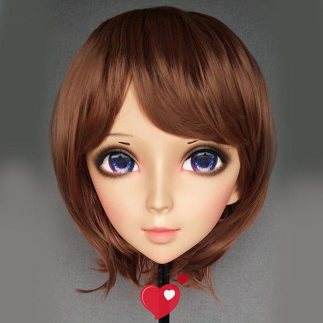 Clever female Sweet Girl Resin Half Head Kigurumi Mask With Bjd Eyes Cosplay Japanese Anime Role Lolita Mask Crossdress Doll ying-06