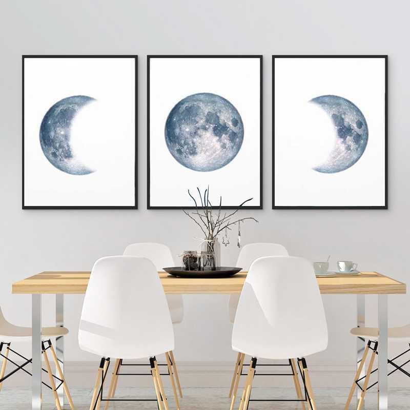 Ay Evreleri Poster Baski Dolunay Yarim Ay Duvar Sanati Tuval