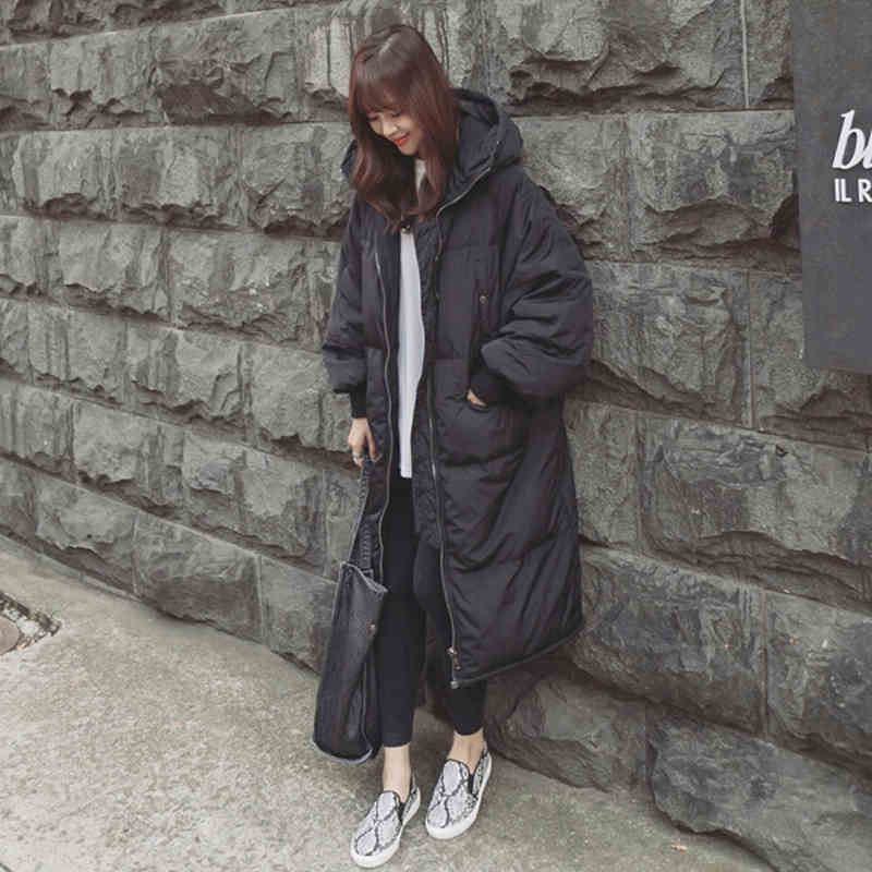 Black Plus Size Korea Fashion Female Outwear Thick Warm   Parka   Oversize Fur Duck Down Winter Coat Women Retro With Hood