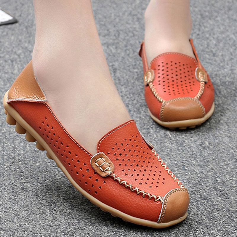 Women Ballet Flats Genuine Leather Summer Loafers Shallow Slip On Moccasins Casual Ladies Shoes Sapato Feminino Size 35-44 summer slip ons 45 46 9 women shoes for dancing pointed toe flats ballet ladies loafers soft sole low top gold silver black pink