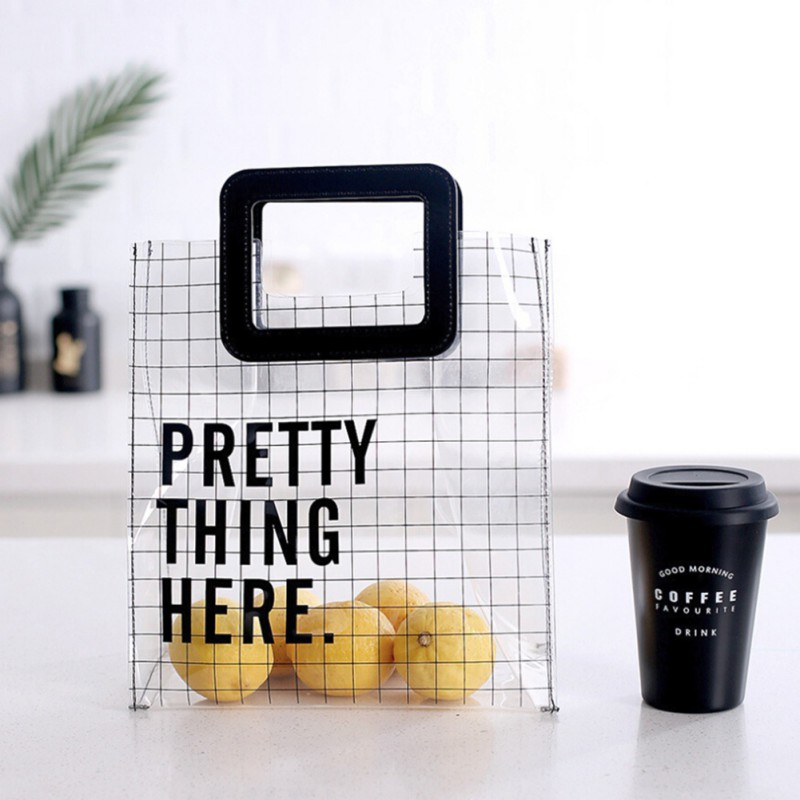 Thick Thick Transparent Tote Bag Street shot Fashion Waterproof and environmentally friendly lunch box bag organizer алиэкспресс сумка прозрачная
