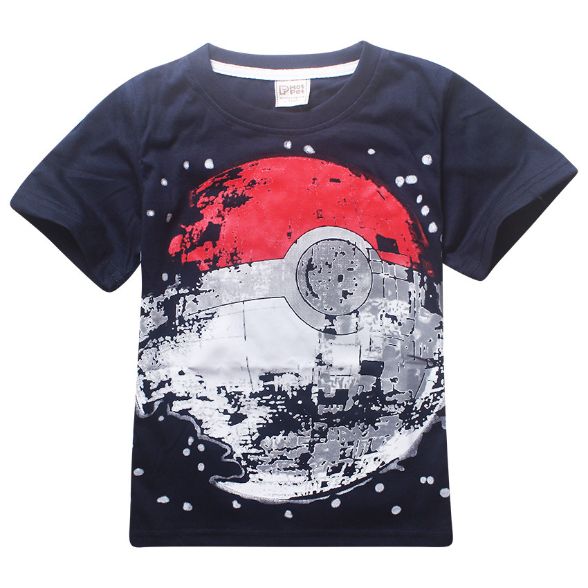 Children T Shirts boys POKEMON Ball T Shirt Summer Top Tee Cartoon Earth Clothing Kid T-shirt for Baby boy Kids Clothes tshirts