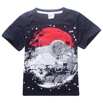 Koszulki dziecięce chłopcy piłka POKEMON T Shirt letni Top Tee Cartoon ziemia odzież dziecięca koszulka dla chłopca ubrania dla dzieci koszulki tanie i dobre opinie TrokaKid Poliester COTTON STREETWEAR Tees Pasuje prawda na wymiar weź swój normalny rozmiar 8260 costumes Unisex O-neck