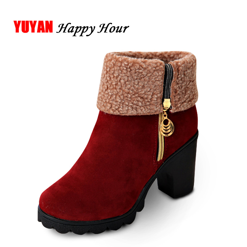 Novo 2019 inverno botas de salto alto quente de pelúcia saltos quadrados sapatos de inverno botas femininas moda marca tornozelo botas de neve a056