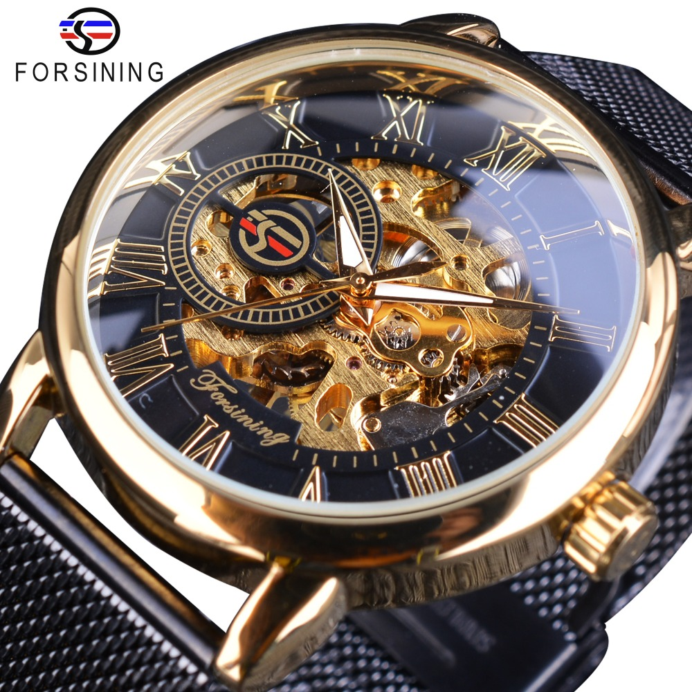 Forsining 2018 Classic Retro Luxury 3D Roman Number Black Mesh Band Transparent Men Mechanical Skeleton Watches Top Brand Luxury
