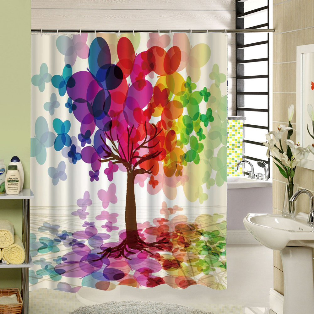 Art Design Tree That Symbolizes The Lively Life Waterproof Anti Mold Fabric Shower Curtain Accessory with 12 Plastic Rings Set