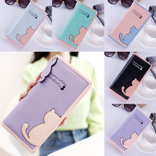 цены New Women Wallets Long Section Female Cute Cat Hit Color Wave Point Zipper Wallet Student Purse