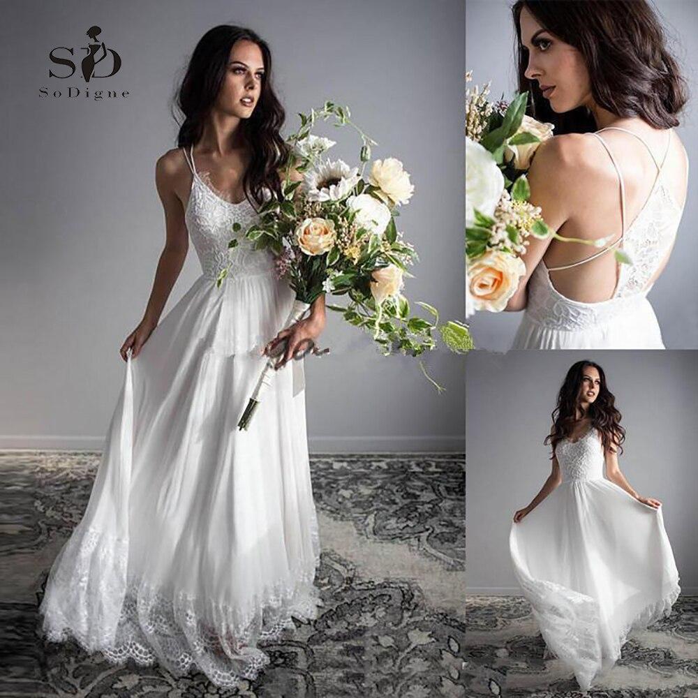 Lace Vestido De Noiva 2018 Spaghetti Straps Chiffon Beach Wedding Dress Robe De Mariee Bride Gown
