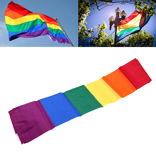 Superb WHISM 90x150cm Colorful Bisexual Pride Polyester Hanging Flag Stripes Home  Decor Lesbian Gay Pride Rainbow Banner