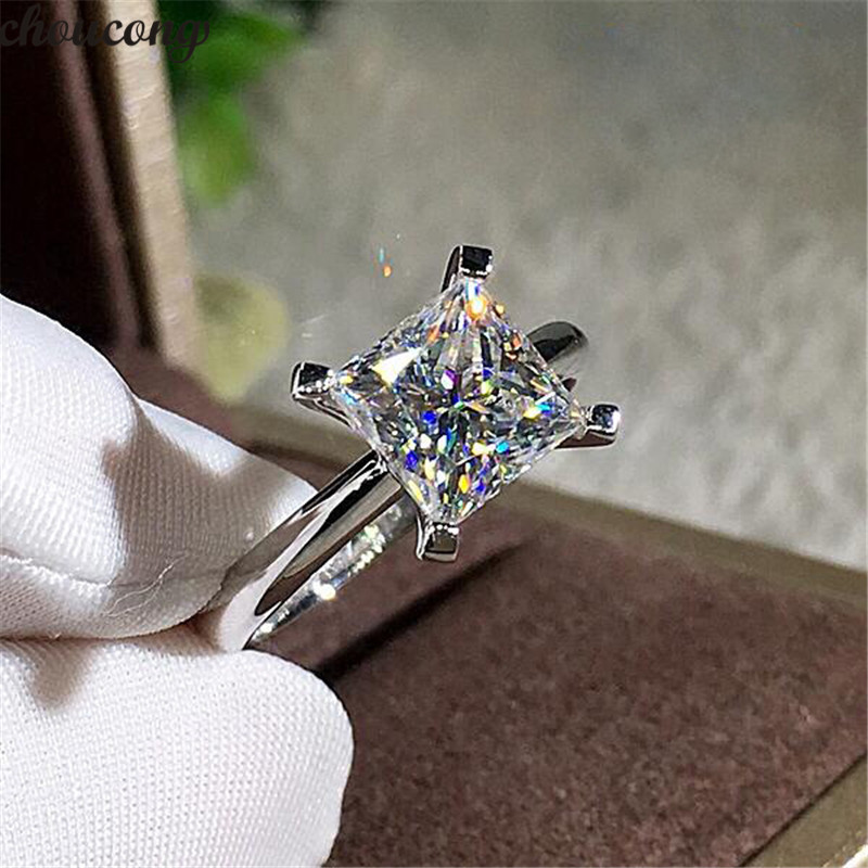 Choucong Princess Promise Ring 925 Sterling Silver AAAAA Zircon Cz Engagement Wedding Band Rings For Women Bridal Best Jewelry