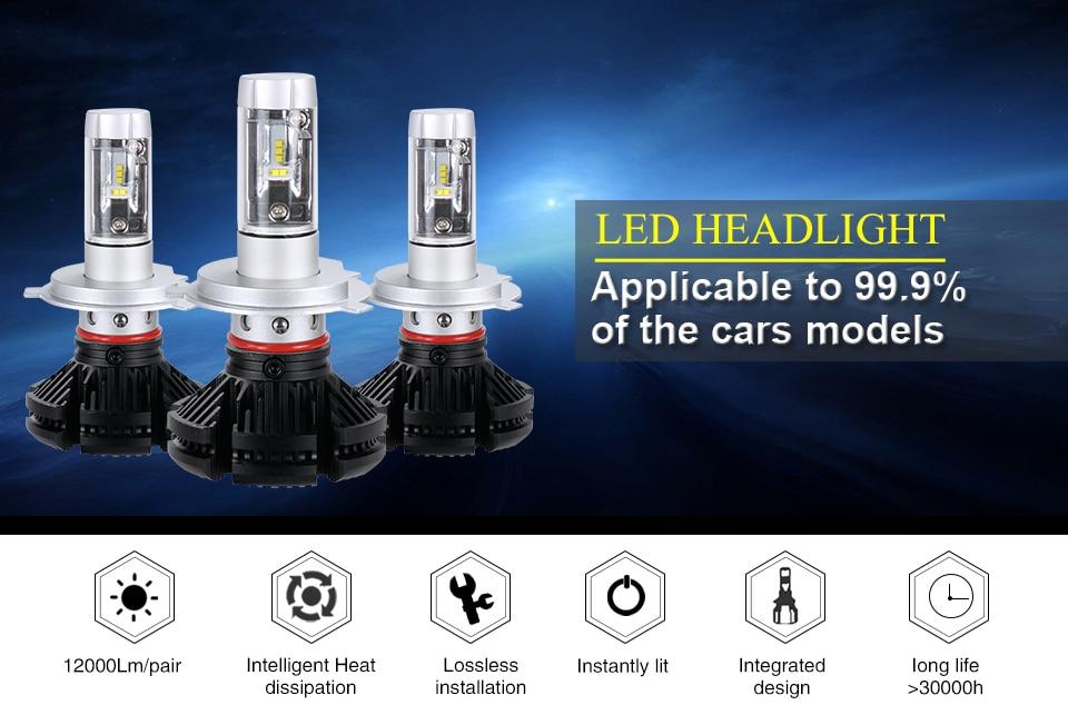 Aceersun X3 Series Fanless 50W H7 LED Car Headlight Bulbs WhiteAmber 6000lm H7 Auto Headlamp LED Car Bulb 12V 3000K6500K8000K (1)